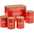 more details on ColourMatch 5 Pack Wooden lid Storage Jars - Coral.