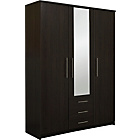 more details on Normandy 3 Door 3 Drawer Large Mirrored Wardrobe - Wenge.