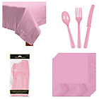 more details on Cutlery, Napkins and Tablecloth Set - Pink.