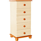 more details on Stavern Narrow 5 Drawer Chest - Pine and Cream.