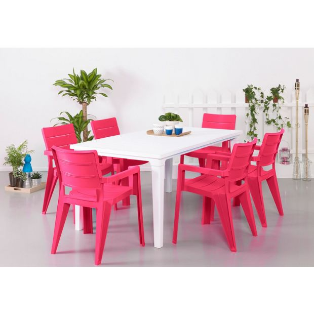 Buy Futura Pink And White 6 Seater Patio Set At Argos Co