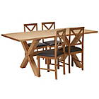 more details on Hudson Solid Wood Dining Table and 4 Cross Back Chairs.