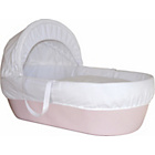 more details on Shnuggle Pink Moses Basket with White Covers and Mattress.