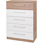 more details on Deuce 5 Drawer Chest - White and Oak.