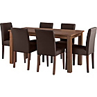 more details on Wyoming Walnut Stain Dining Table and 6 Chocolate Chairs.