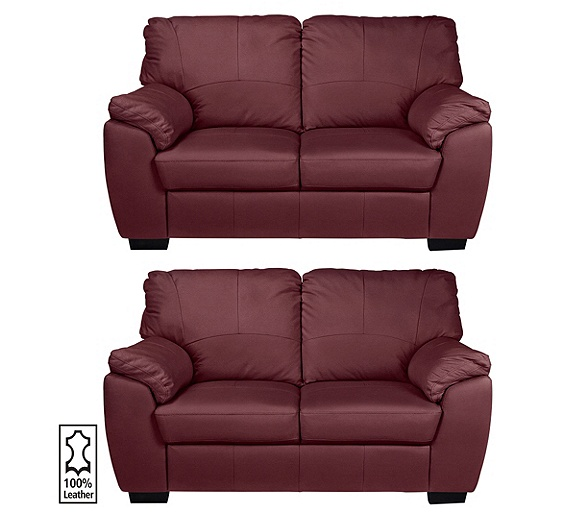 buy collection milano pair of 2 seater leather sofas red. Black Bedroom Furniture Sets. Home Design Ideas