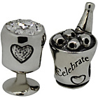 more details on Link Up Sterling Silver Champagne and Glass Bottle Charms -2