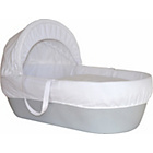 more details on Shnuggle Grey Moses Basket with White Covers and Mattress.