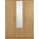 more details on Normandy 3 Door 3 Drawer Large Mirrored Wardrobe - Oak.