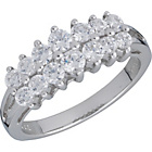 more details on Sterling Silver Cubic Zirconia Cluster Ring - Size O.