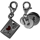 more details on Link Up Sterling Silver I Love You Clip-On Charms - Set of 2