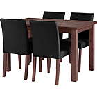 more details on Wyoming Walnut Stain Dining Table and 4 Black Chairs.