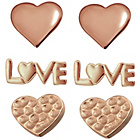 more details on Rose Gold Plated Silver Love Heart Stud Earrings - Set of 3.