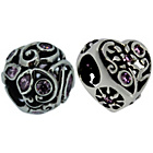 more details on Link Up S.Silver Pink Crystal Filigree Bead Charms - 2.