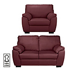more details on Milano Regular Leather Sofa and Chair - Red.