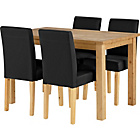 more details on Wyoming Oak Stain Dining Table and 4 Black Chairs.