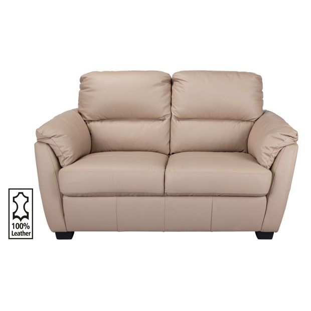 Buy Collection Trieste 2 Seater Leather Sofa Taupe At