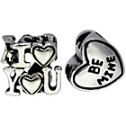 more details on Link Up S.Silver I Love You and Be Mine Charms - Set of 2.