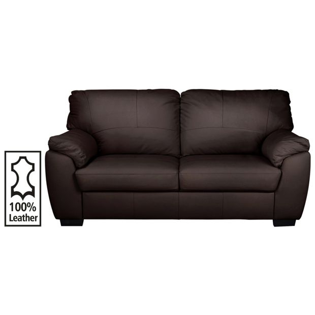 buy collection milano 3 seater leather sofa chocolate at