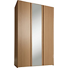 more details on New Denver 3 Door Mirrored Wardrobe - Oak Effect.