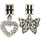 more details on Link Up S.Silver Heart and Butterfly Drop Charms - Set of 2.