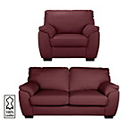 more details on Milano Large Leather Sofa and Chair - Red.