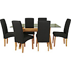 more details on Hartley Glass Dining Table and 6 Charcoal Chairs.