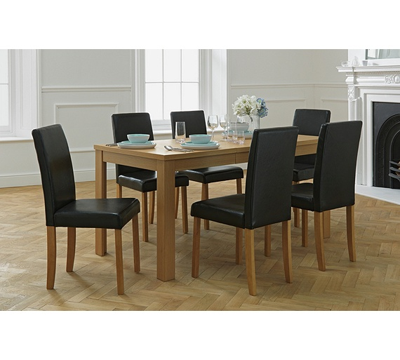 Buy Dining Room Furniture Online: Buy HOME Penley / Pentley Oak Ext Dining Table & 6 Chairs
