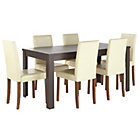 more details on Penley Walnut Stain Extendable Dining Table & 6 Cream Chairs