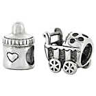 more details on Link Up Sterling Silver Milk and Buggy Charms - Set of 2.