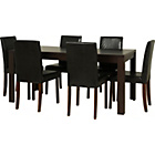 more details on Penley Walnut Stain Extendable Dining Table & 6 Black Chairs