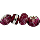 more details on Link Up Sterling Silver Plum Glass Beads - Set of 4.