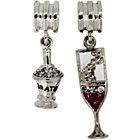 more details on Link Up Sterling Silver Wine and Glass Drop Charms - 2.