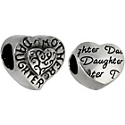 more details on Link Up Sterling Silver Daughter and Heart Charms - Set of 2
