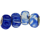 more details on Link Up Sterling Silver Royal Blue Glass Beads - Set of 4.