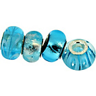 more details on Link Up Sterling Silver Blue Glass Beads - Set of 4.