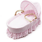 more details on Kinder Valley Pink Broderie Anglaise Moses Basket.