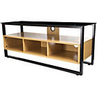 more details on Proper Tempered Glass and Wood TV Floor Stand - Black.