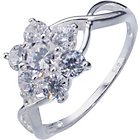 more details on Sterling Silver Cubic Zirconia Flower Ring - Size O,