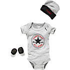 more details on Converse Charcoal 3 Piece Baby Gift Set - 0-6 Months.
