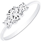 more details on Sterling Silver Cubic Zirconia 3 Stone Ring - Size O.