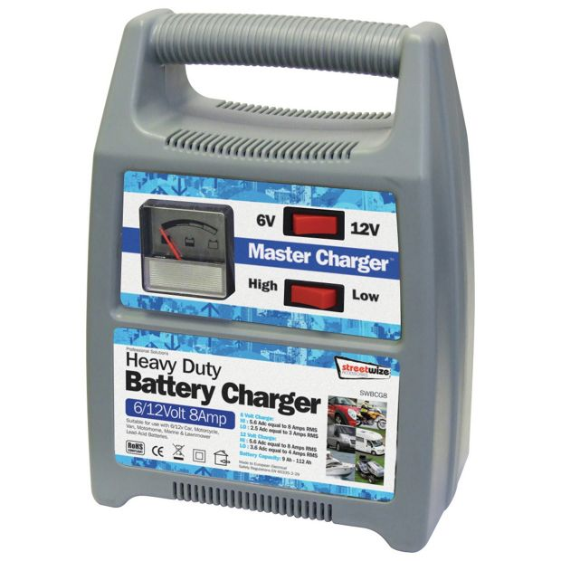buy streetwize 8amp 12v automatic battery charger at argos. Black Bedroom Furniture Sets. Home Design Ideas