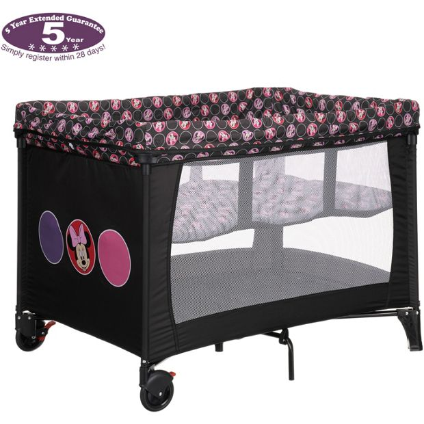 buy disney travel cot and bassinette minnie circles at. Black Bedroom Furniture Sets. Home Design Ideas