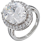 more details on Sterling Silver Extra Large Oval CZ Ring - Size P.