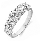 more details on Sterling Silver Cubic Zirconia Large 5 Stone Ring - Size O.