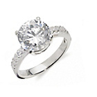 more details on Sterling Silver Extra Large CZ Solitaire Ring - Size Q.