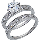 more details on Sterling Silver Cubic Zirconia Ring - Set of 2 - Size R.