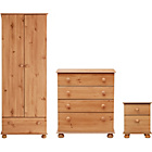more details on New Stirling 3 Piece 2 Door Wardrobe Package - Pine.