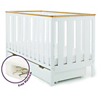 more details on Obaby York Cot Bed and Under Cot Drawer - White/Pine Trim.