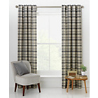 more details on Printed Check Unlined Eyelet Curtains 117 x 137cm - Natural.